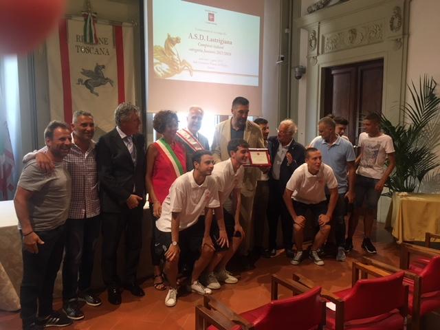 L'A.S.D Lastrigiana premiata dalla Regione Toscana per la vittoria del titolo italiano!
