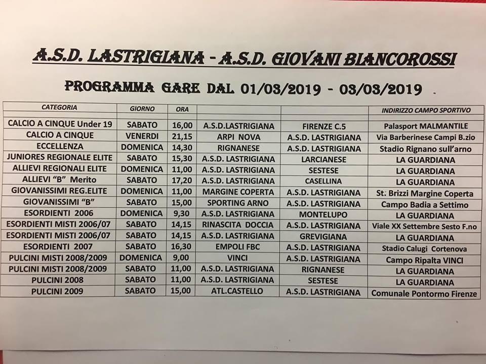 Programma Lastrigiana e Giovani Biancorossi dal 01-03 al 03-03